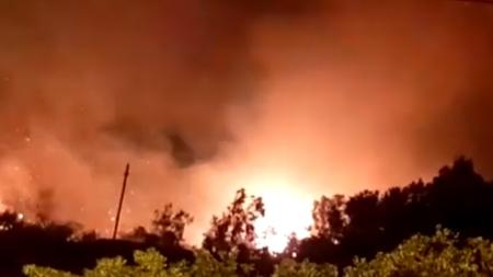 Vasto incendio in un canneto nei pressi di due hotel